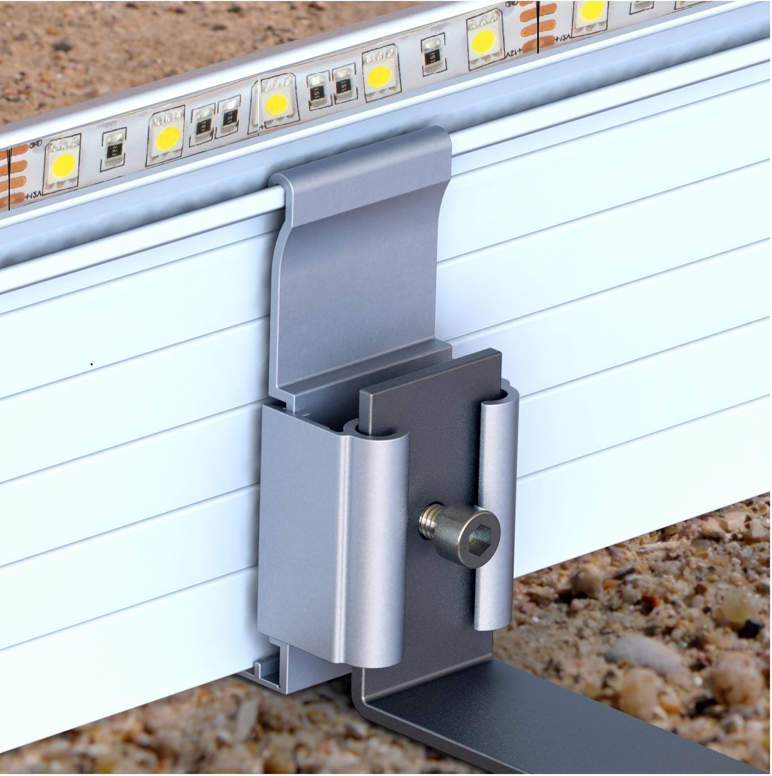 Bordure avec ruban adhésif LED étanche intégré