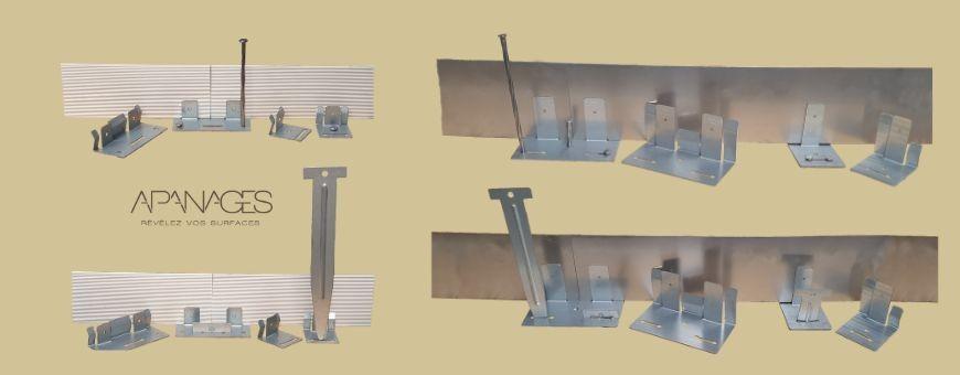 Pinces support et raccordement du système PVC Corten Galva