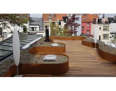 Bordures de terrasse en acier Corten sur mesure.